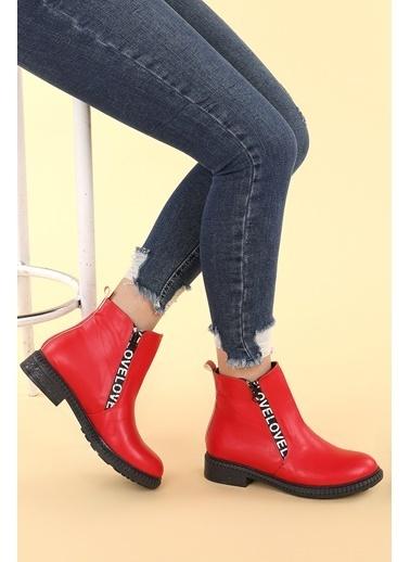 Ayakland Ayakland N901-07 Cilt Termo Taban Kadın Bot Ayakkabı Kırmızı